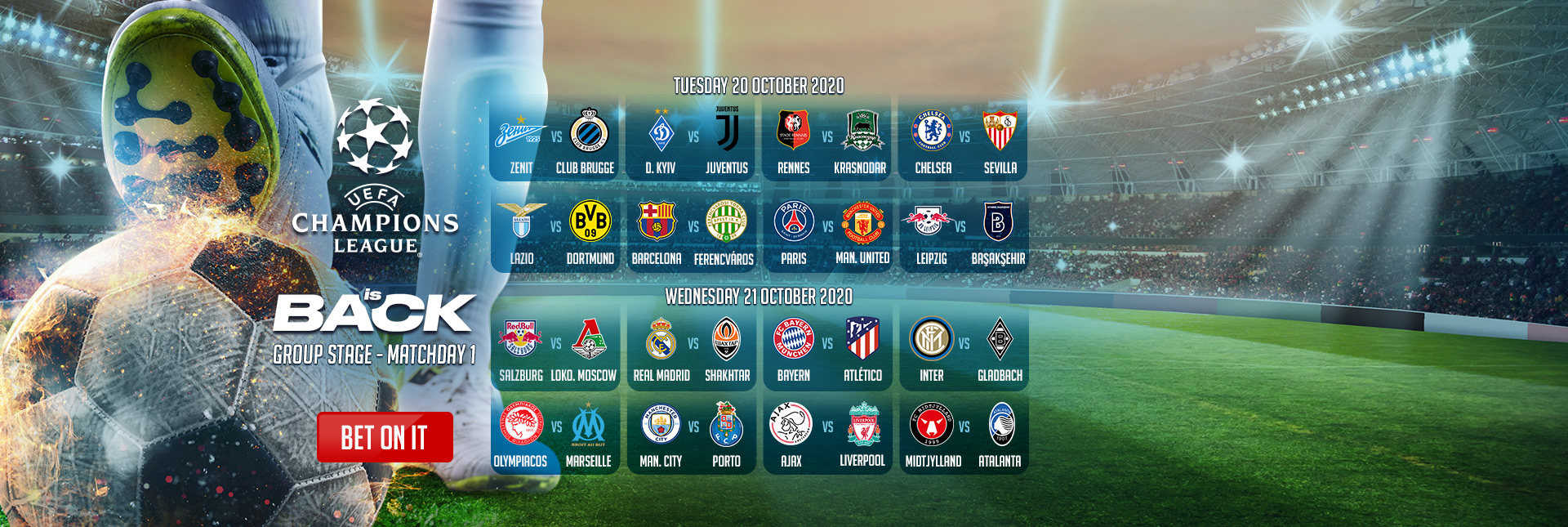 UEFA Champions League Group Stage - Matchday 1