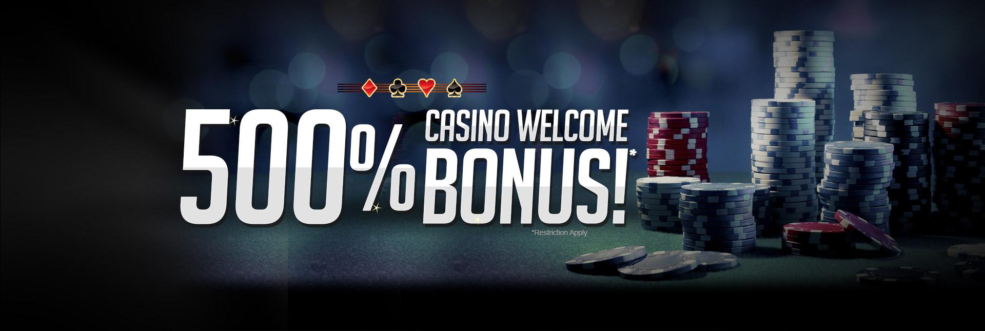 500% Casino Welcome Bonus!*