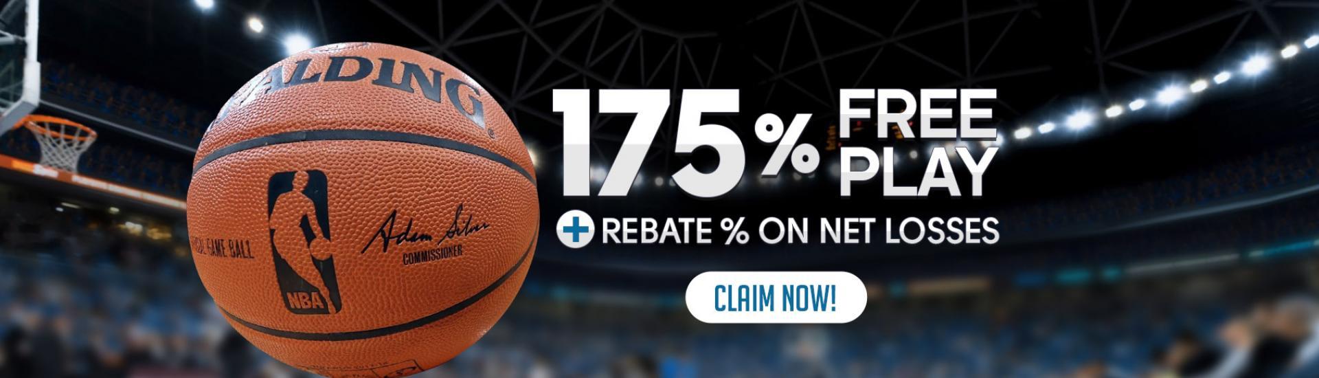 NBA is Back 175% Free Play + Rebate % on net losses