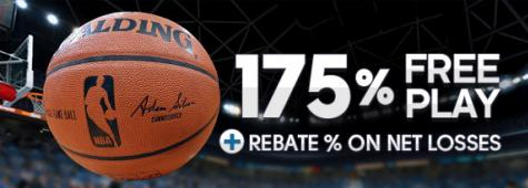 175% Free Play + Rebate % On Net Losses